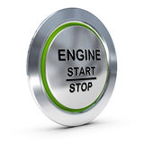 Car Keyless Ignition Button. Start and stop keyless ignition button over white background with green light, engine starter concept Stock Image