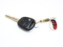 Car keys. Car a key caught on a spinner for the big predatory fish Royalty Free Stock Photos