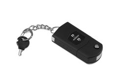 Car keys. A set of car keys in black, lying on a white background Royalty Free Stock Images