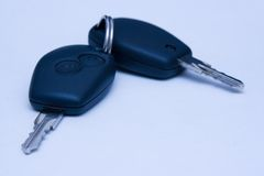 Car keys. Closeup of two car keys stock photos