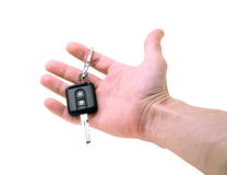 Car keys. In a man's hand Stock Images