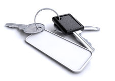Car keys with blank white keyring. Bunch of old school car keys with few other keys on a keyring with a blank white area royalty free illustration