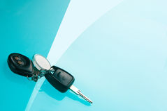 Car keys on blue background Royalty Free Stock Photo