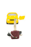 Car keys and car at background Royalty Free Stock Photo
