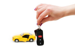 Car keys and car at background Stock Image