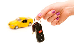 Car keys and car at background Royalty Free Stock Photography