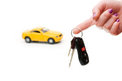 Car keys and car at background Stock Images