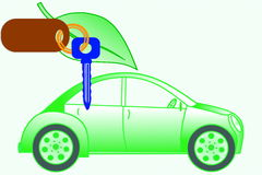 Car keys and car with go green concept Stock Photography