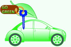 Car keys and car with go green concept Royalty Free Stock Image