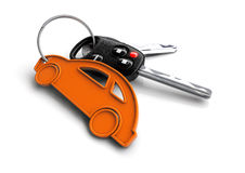 Car keys with car icon keyring. Concept for car ownership. Royalty Free Stock Photos