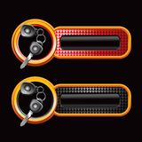 Car keys on checkered banners Royalty Free Stock Photos