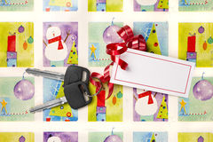 Car Keys Christmas Present Royalty Free Stock Photo