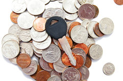 Car keys and coins Stock Photography