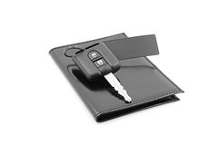 Car keys and documents. Isolated on a white background Stock Photo