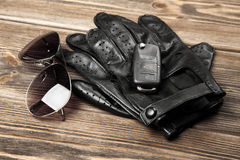 Car keys and driving gloves Stock Images