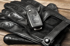 Car keys and driving gloves Stock Photo