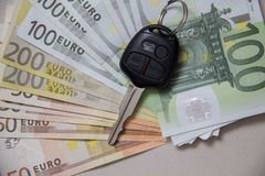 Car keys on euro banknotes Royalty Free Stock Photo