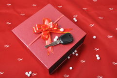 Car keys and Gift box Stock Images