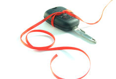 Car keys. Gift ribbon tied around a set of car keys stock images