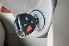 Car keys in ignition (start the car). Closeup Royalty Free Stock Images