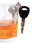 Car keys inside bourbon glass Stock Photography