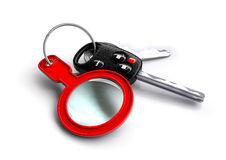 Car Keys with keyring: Magnifying glass - car inspection!. Car Keys with keyring: Magnifying glass - car inspection concept. Car servicing or maintenance concept royalty free illustration