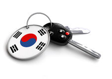 Car keys with Korea flag as keyring. Car keys with Korean flag as keyring. Concept for cars manufactured and sold in Korea. Korean car brands and makes of royalty free illustration