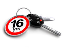 Car keys with legal USA driving age on keyring. 16 Years old drivers are legal to drive a vehicle in the United States. Keys to the world stock illustration