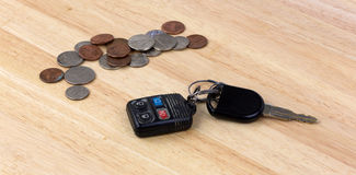 Car keys and loose change Stock Photography