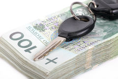 Car keys and a lot of money Stock Photos