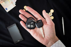 Car keys on the male palm Royalty Free Stock Photo