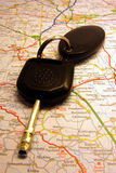 Car keys on map Royalty Free Stock Photos
