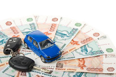 Car, keys and money Stock Photo