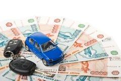 Car, keys and money Stock Photo