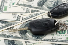 Car keys and money Stock Photo