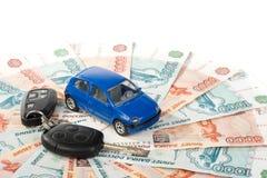 Car, keys and money Stock Photos