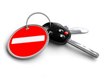 Car keys with no entry road sign on keyring. Traffic rules, road rules, responsible driving, road safety stock illustration