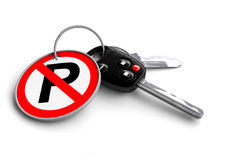 Car keys with no parking road sign on keyring. Traffic rules, road rules, responsible driving, road safety vector illustration