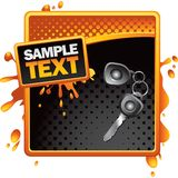 Car keys orange halftone grungy banner Stock Image