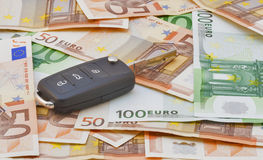 Car keys over euro banknotes Stock Image