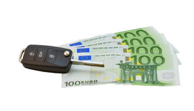 Car keys over euro banknotes Royalty Free Stock Photography