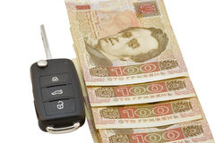 Car keys over Ukrainian banknotes Stock Photography