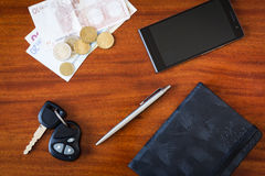 Car keys, phone and money Royalty Free Stock Image