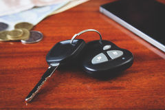 Car keys, phone and money Stock Photos