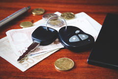 Car keys, phone and money Royalty Free Stock Photos