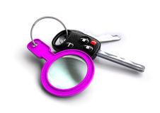 Car keys with a pink magnifying glass as a keyring. Concept for car insurance, servicing or detailing. Taking care of your vehicle stock illustration