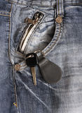 Car keys in the pocket. Car keys in the jeans pocket, fashion, blue Stock Photo