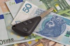Car keys on Polish zloty and Euro notes background Royalty Free Stock Photography