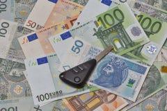 Car keys on Polish zloty and Euro notes background Royalty Free Stock Images