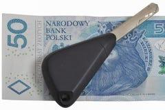 Car keys on Polish zloty note background Stock Photos